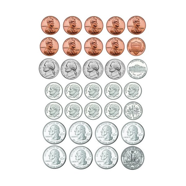 Toy Money Cut Outs : U s coins die cut magnet sheet pcs learning gizmos