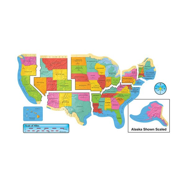 United States Map Bulletin Board Set - Learning Gizmos - Family