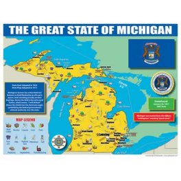 Michigan State Map for Students Learning Gizmos Family